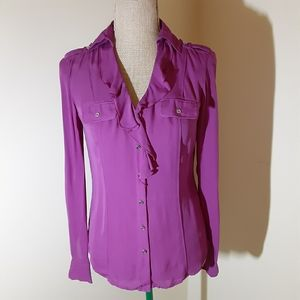 WHBM silk magenta ruffle front button up size 0